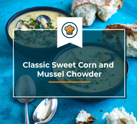 blue ocean mussels - classic sweet corn and mussel chowder
