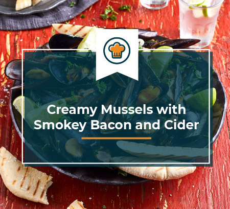 Creamy Mussels with smokey bacon and cider