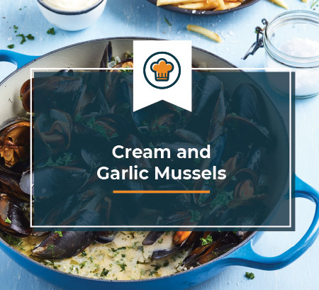 Cream and Garlic Mussels